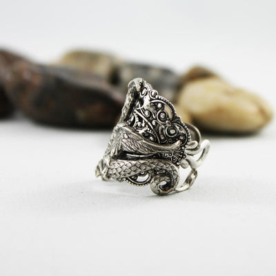 Silver Dragon Ring, Medieval Fantasy, Neo Victorian Gothic Jewelry