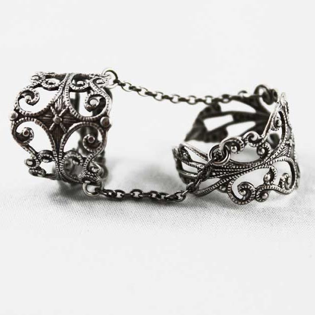 Silver Filigree Double Ring