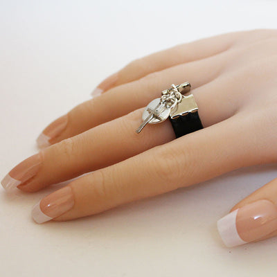 Silver Heart and Cross or Ankh Leather Ring