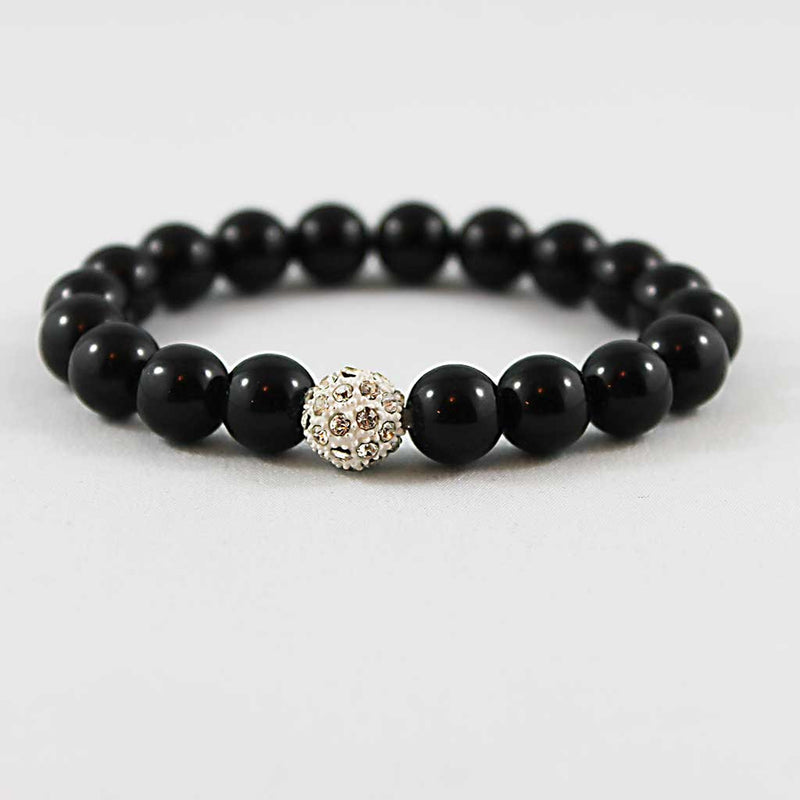 Black Bead Stretch Onyx Bead Bracelet