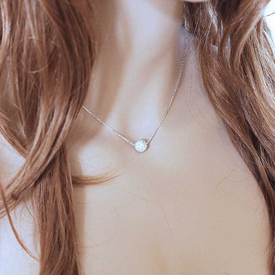 Dainty Silver Pave Necklace