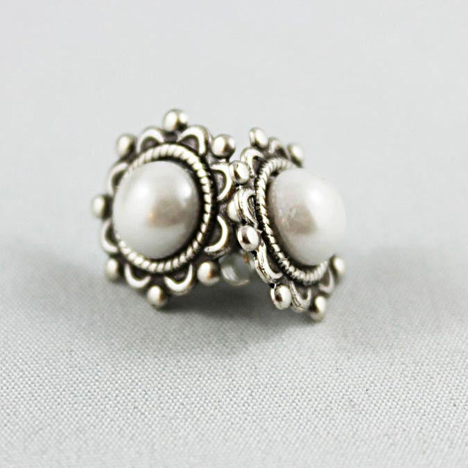 Oxidized Silver Pearl Stud Earrings