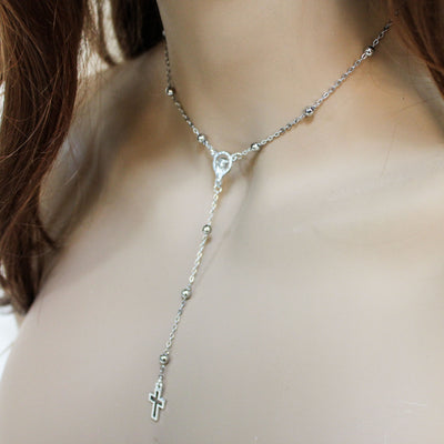 Silver Satallite Chain Rosary Necklace