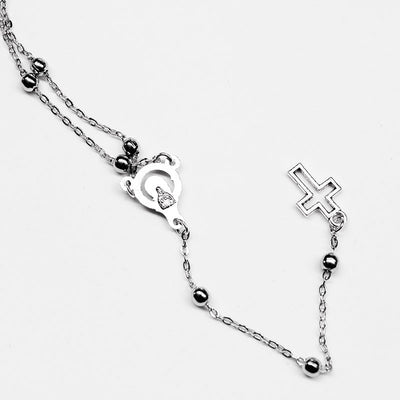 Silver Rosary Style Necklace