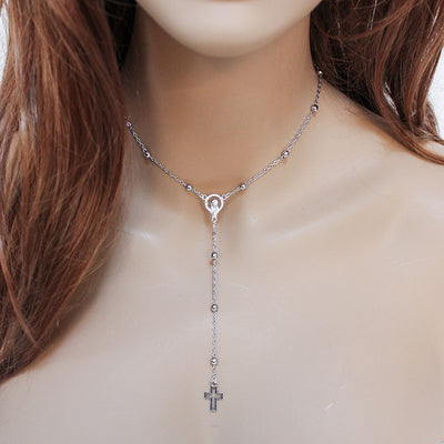 Dainty Rosary Style Choker Necklace