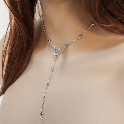silver rosary y necklace