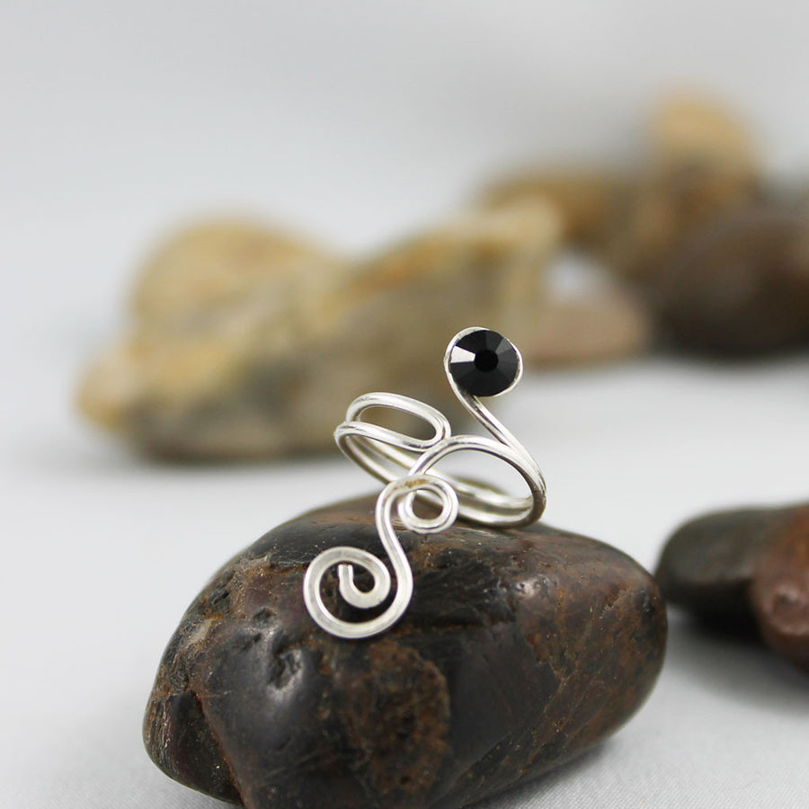 Black Crystal Silver Spiral Swirl Toe Ring