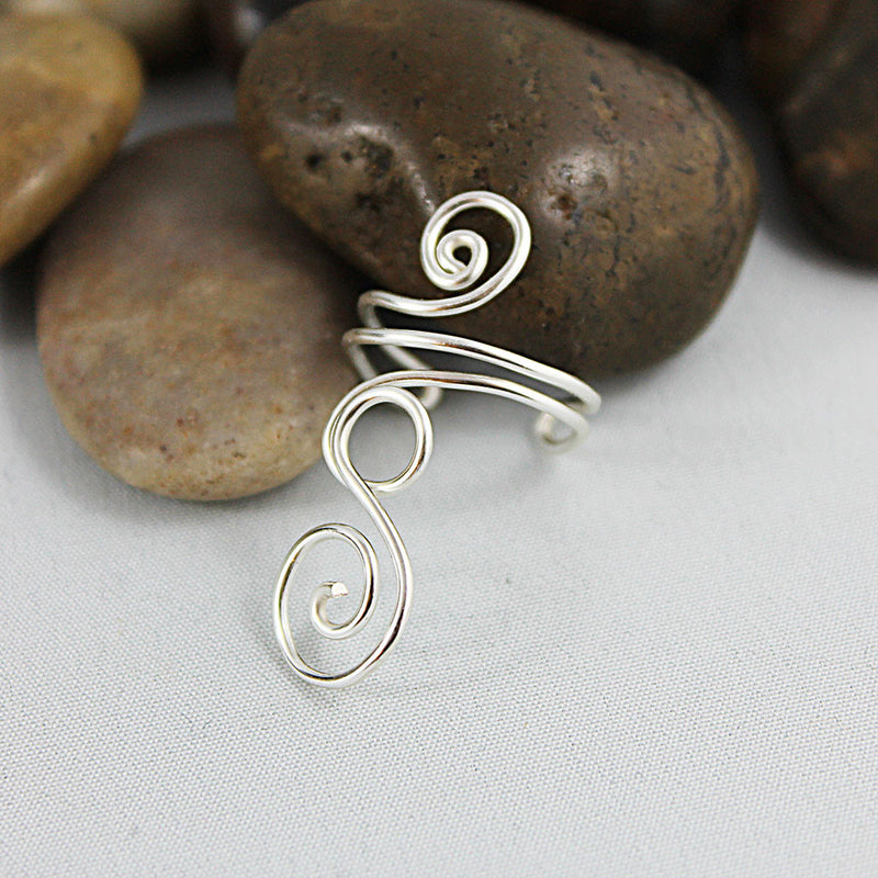 Adjustable Silver Spiral Swirl Ring