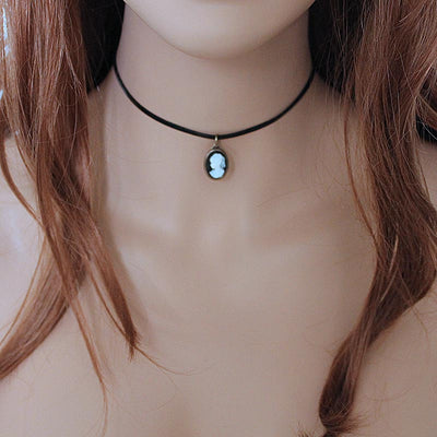 Simple Black Leather Black Cameo Choker