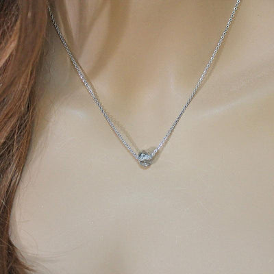 Single Crystal Bead Silver Necklace