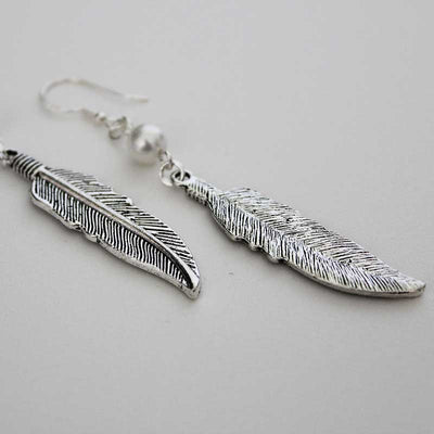 Boho Silver Feather Single Pearl Dangle Earrings