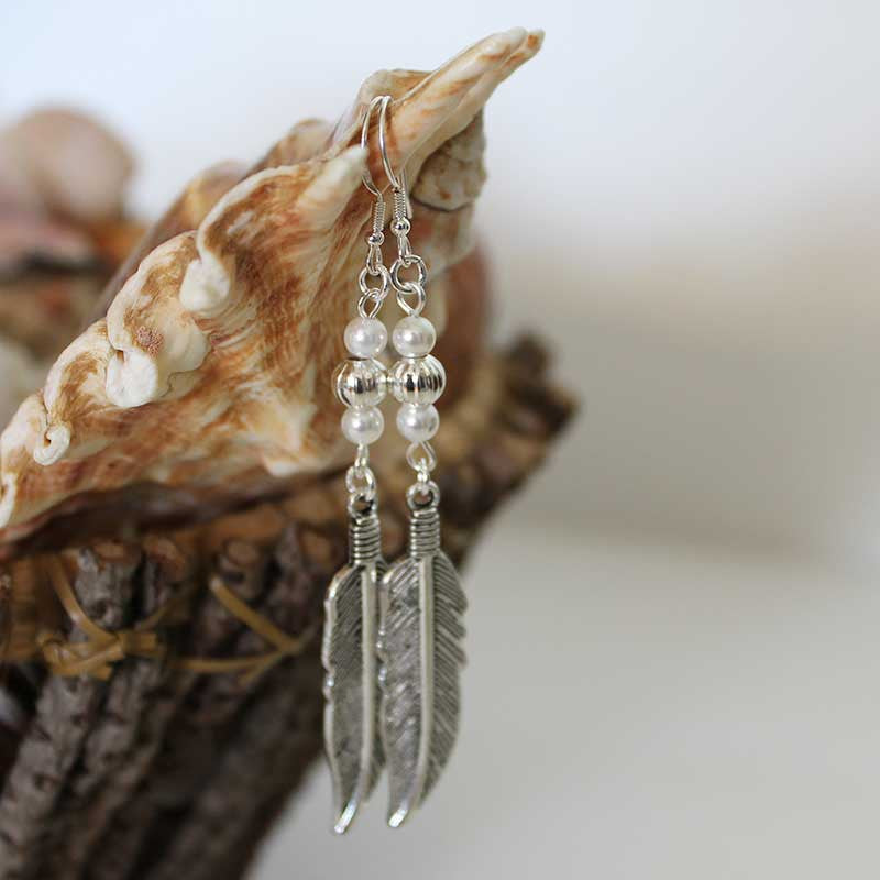 Boho Double Pearl Feather Dangle Earrings
