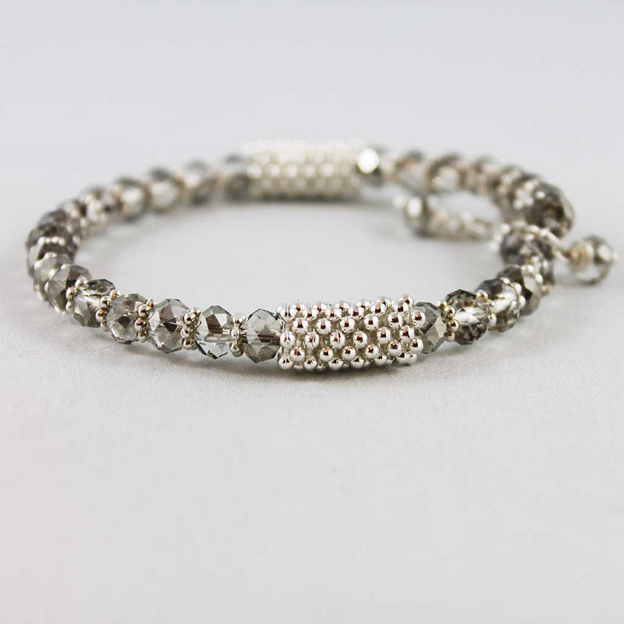 Crystal Bead Memory Wire Bangle