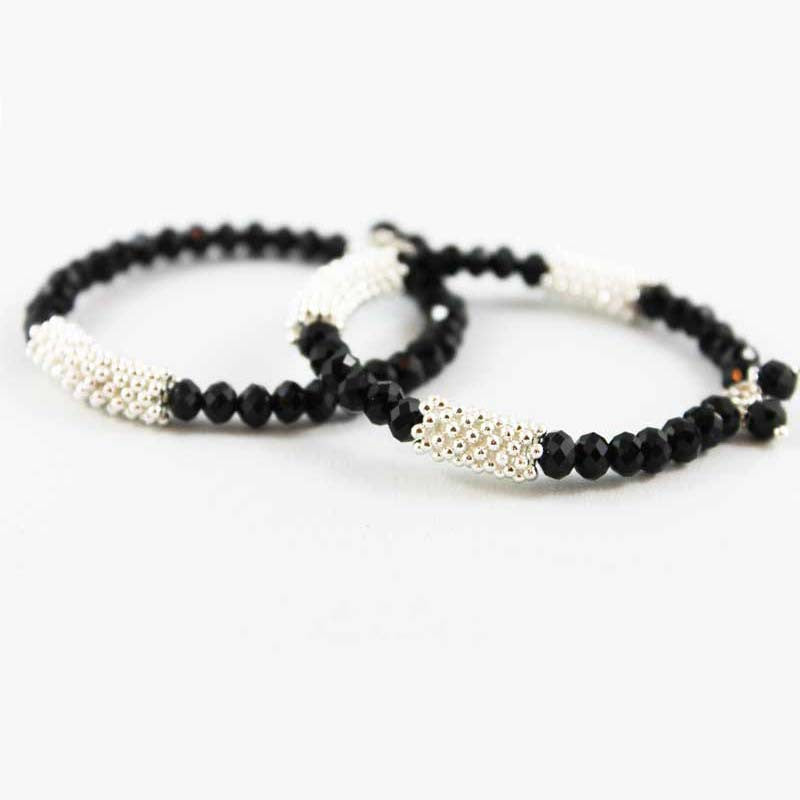 Black Sparkle Memory Wire Bangle