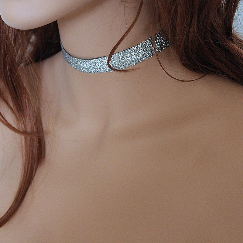 Sparkly Silver Black Reversible Choker
