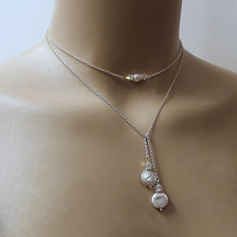 Coin Pearl Sterling Silver Lariat Necklace