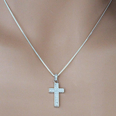 Sparkling Silver Cross Necklace