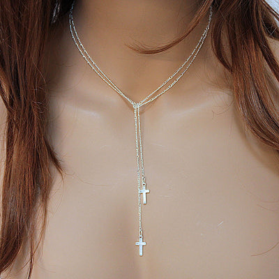Sterling Silver Double Cross Lariat Necklace