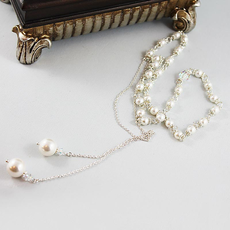 Pearl Lariat Necklace, Sterling Silver Crystal Open Necklace