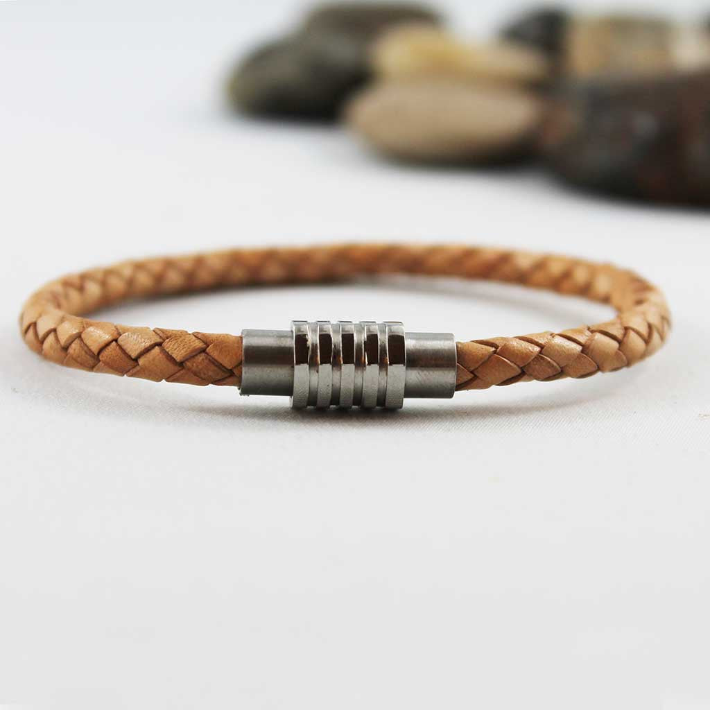 Unisex Natural Tan Braided Leather Bracelet