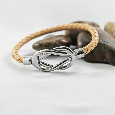Tan Leather Silver Knot Bracelet