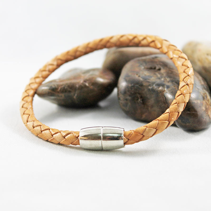 Tan Leather Silver Magnetic Bracelet