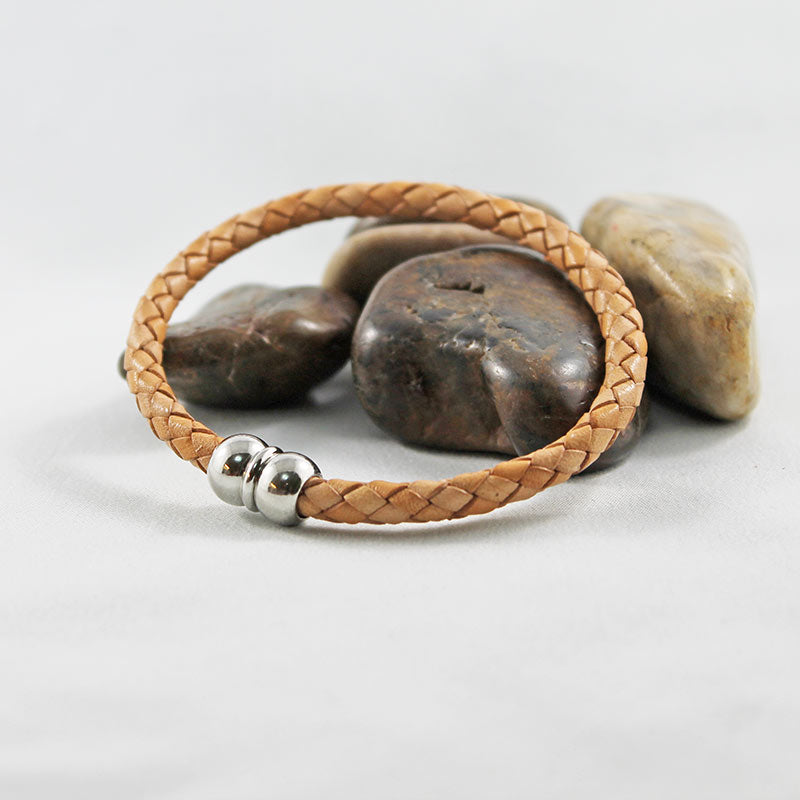 Tan Leather Silver Magnetic Casual Bracelet