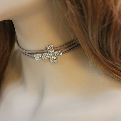 Brown Sideways Cross Choker