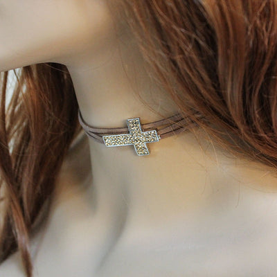 Triple Strand Brown Sideways Cross Choker