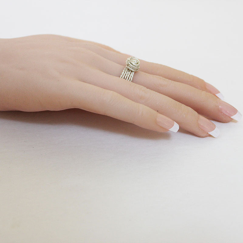 Twisted Silver Wire Knot Ring