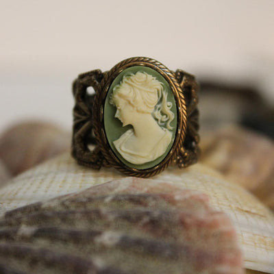 Green Cameo Victorian Ring
