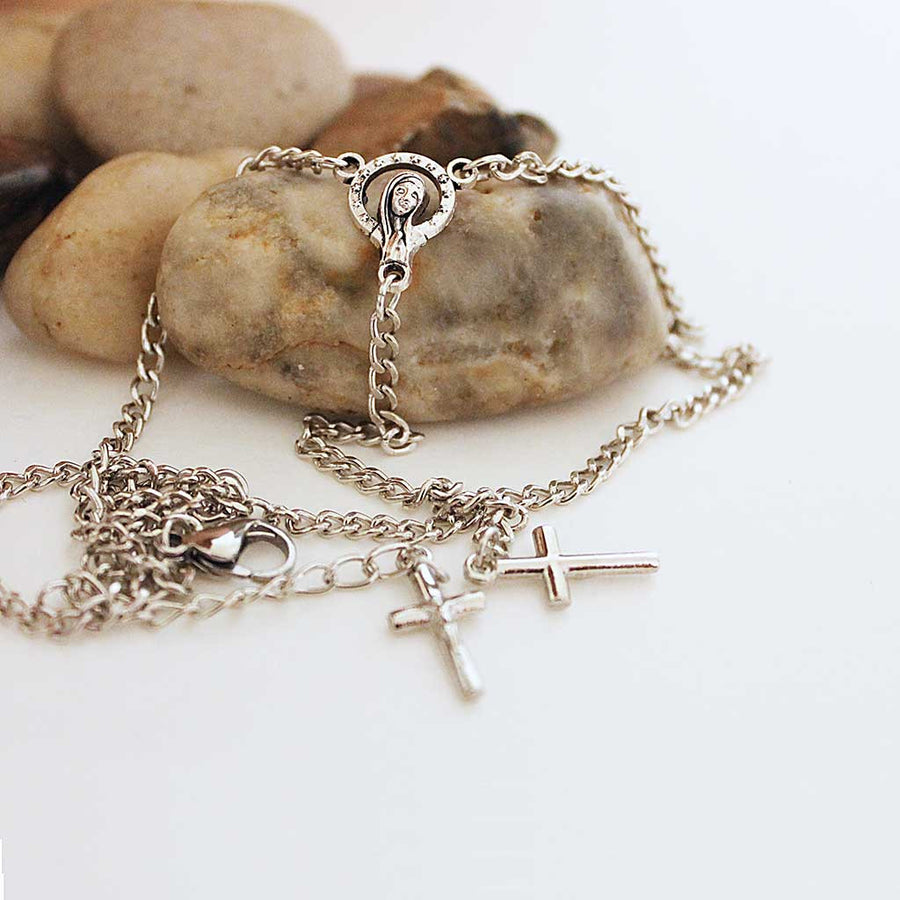 Virgin Mary Silver Chain Rosary