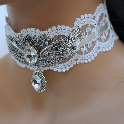 Angel Wing Lace Choker Necklace