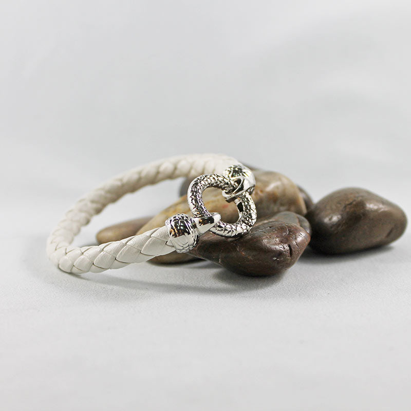 White Leather Silver Ring Clasp Bracelet