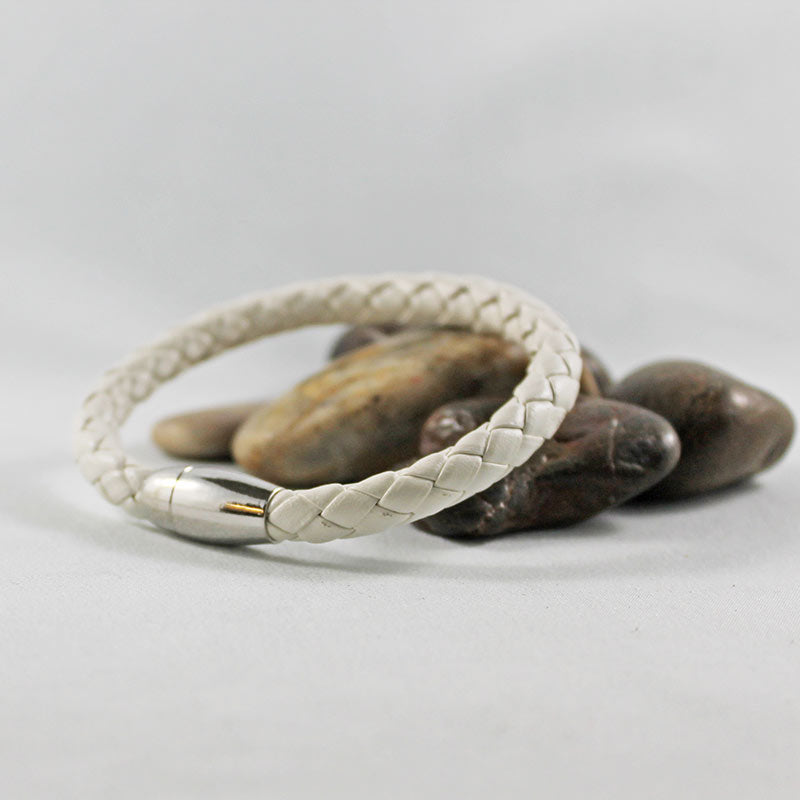 White Leather Silver Tube Magnetic Clasp Bracelet