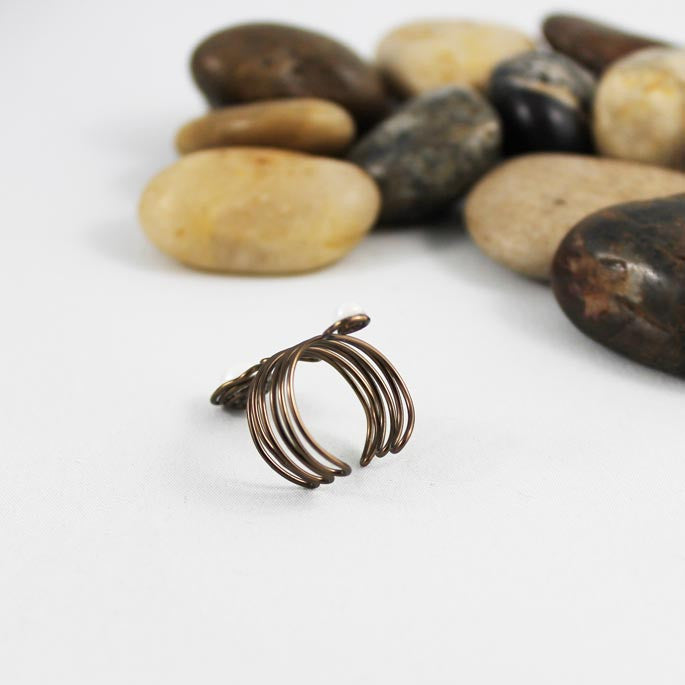 Pearl Wire Wrapped Adjustable Ring