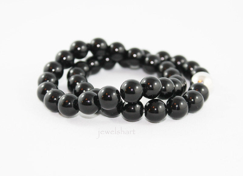 Simple Black Onyx Beaded Bracelet