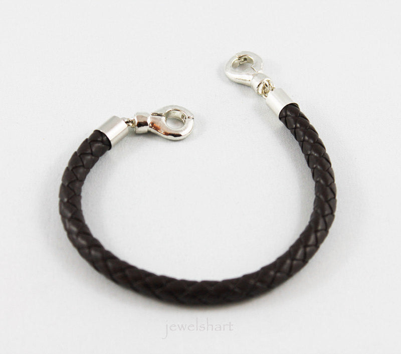 Mens Magnetic Clasp Braided Leather Bracelet