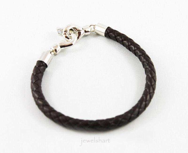 Mens Magnetic Clasp Brown Braided Leather Bracelet