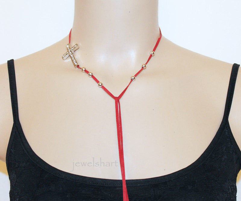 Red Suede Sideways Cross Lariat Choker Necklace