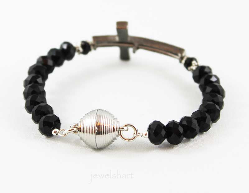 Black Sideways Cross, Magnetic Clasp Bangle