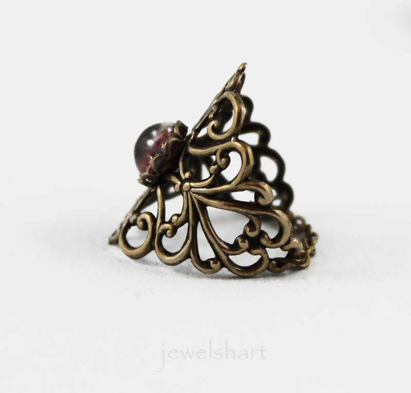 Victorian Oxidized Brass Filigree Ring