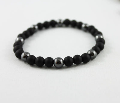 Unisex Beaded Black Onyx Stretch Bracelet
