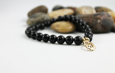 Men's Onyx Bead Gold Hamsa Bracelet