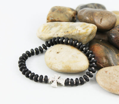 Unisex Black Onyx Disc Beaded Cross Bracelet