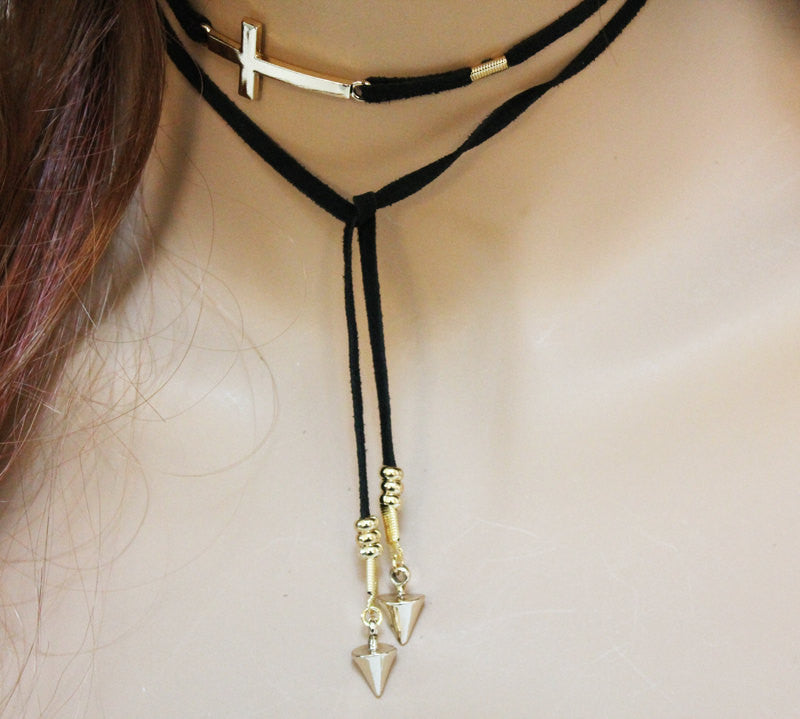 Black Suede Gold Sideways Cross Lariat Choker
