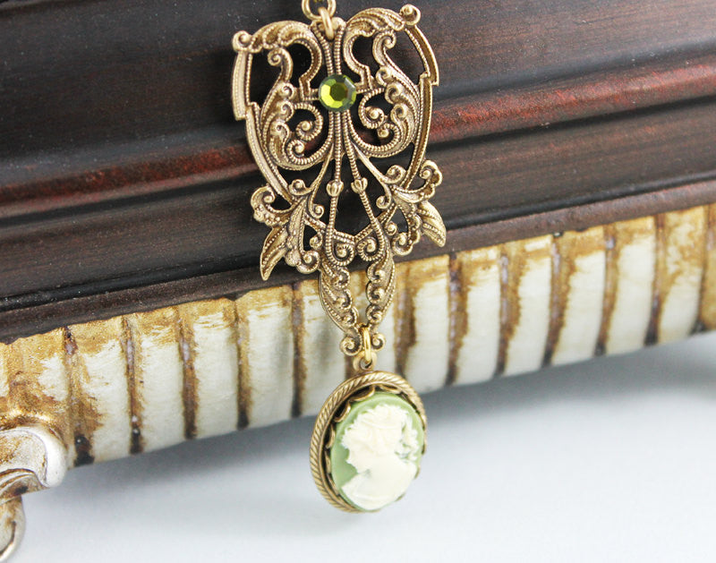 Ornate Brass Green Cameo Pendant Victorian Necklace