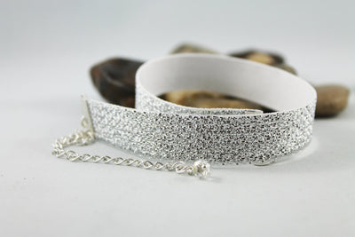 Sparkly Silver White Fabric Choker