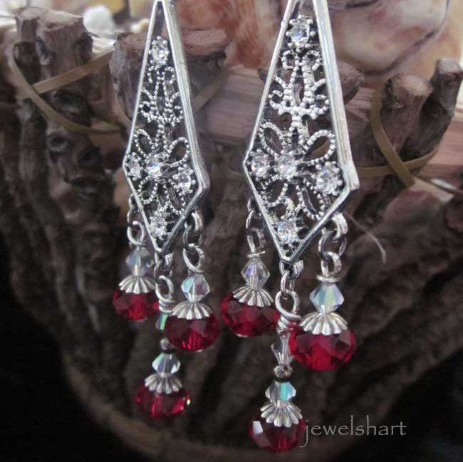 Elegant Long Red Chandelier Earrings