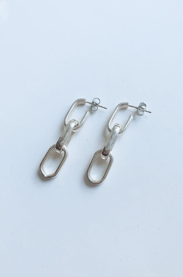 2in1 BOLD CHAIN Sterling Silver Earrings by Pulva - The Black Market